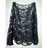 Long Sleeve Sexy Lace Blouse Tops Fashion Crochet Tops