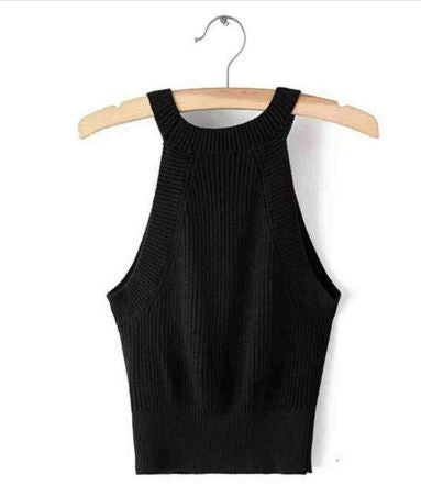 Melville Knitted Tank Bustier Fitness Short Crop Tops