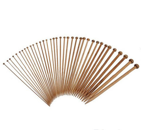 Single Point Smooth Carbonized Bamboo Knitting Needles 25cm - 36 Piece Set
