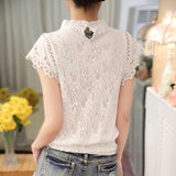Blusas Femininas Plus Size Crochet Hollow out Lace Blouse Short Sleeve
