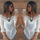 Sexy V neck White Tunic Crochet Lace Top Elegant Blouse