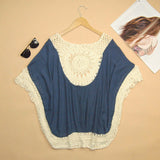 Summer Over-sized Lace Crochet Knitted Blouse Women Boho Tunic Top Plus Size