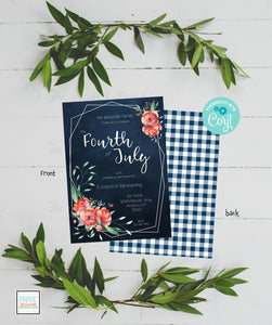 Fourth of July-Floral-Printable-Invitation
