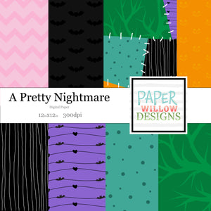 A Pretty Nightmare-Pink-Orange-Green-Teal-Black-White-Chevron-Pumpkins-Bats-Hears-Vines-Stripes