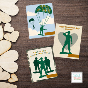 Little Green Military Men-Army Green-Tan-Blue-Valentines Day Cards-Holiday-Created by Paper Willow Designs