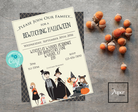 A Bewitching Halloween Party Invitation-Printable-Editable by the buyer-Corjl-Cream and Black-Family-Holiday