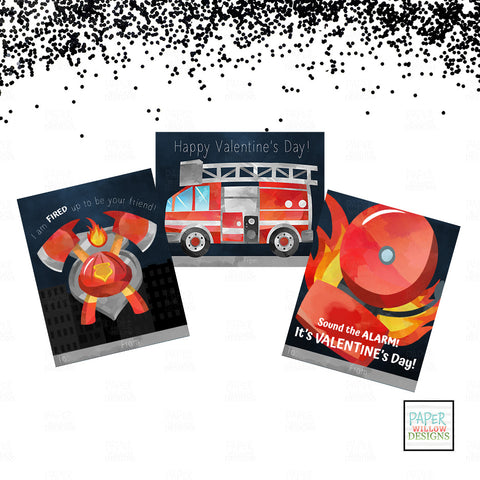 FireStation-Firefighter-Alarm-FireTruck-Valentines Day Cards-Designed by Paper Willow Designs
