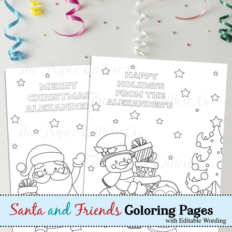 Santa and Friends-Coloring Page