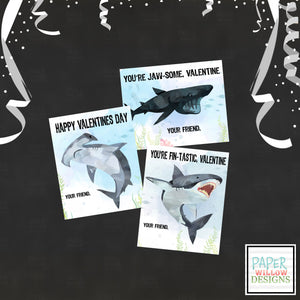 Fintastic Shark Valentines Day Cards-Ocean-Fish-Blue-Hammerhead-Great White-Whale Shark-designed by Paper Willow Designs