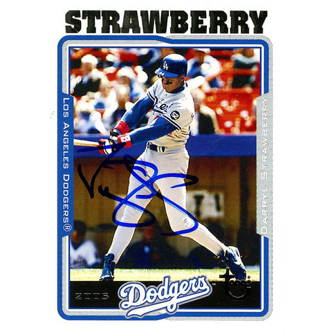 Darryl Strawberry Signed 2005 Topps Card - Dodgers - Swinging through