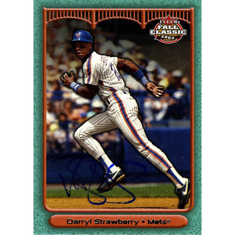 Darryl Strawberry Signed 2003 Fleer Fall Classic Card - Mets - Side view running