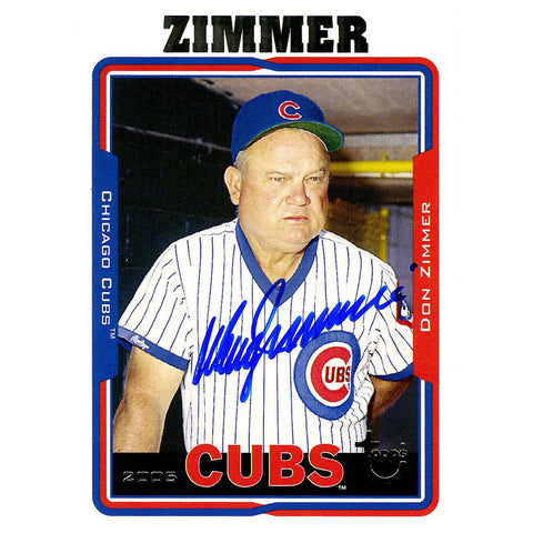 Don Zimmer Signed 2005 Topps Card - Cubs - Portrait in dugout