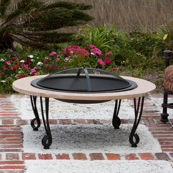 Fire Sense Cast Iron Rim Stone Finish Fire Pit - Fire Sense - Dropship Direct Wholesale