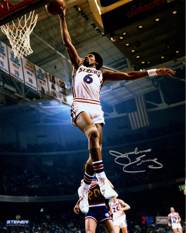 Julius Erving Philadelphia 76ers Dunking Signed 16x20 Photo
