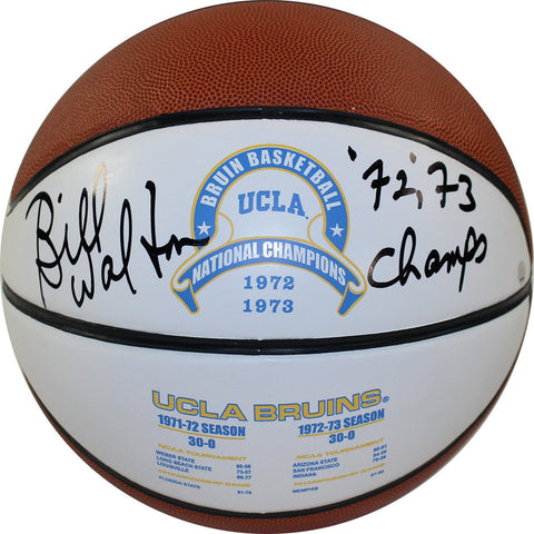 Bill Walton Signed UCLA 1972 and 1973 National Champions Full Size White Panel Basketball w/ 72/73 Champs Insc