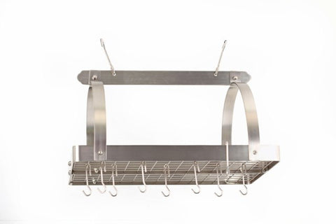 30 x 20.5 x 15.75 Satin Nickel Pot Rack w/Grid 24 Hooks - Old Dutch - Dropship Direct Wholesale