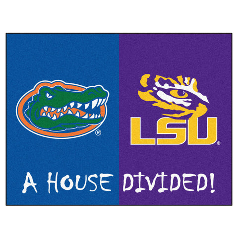Florida - LSU NCAA House Divided Rugs 33.75x42.5 - FANMATS - Dropship Direct Wholesale