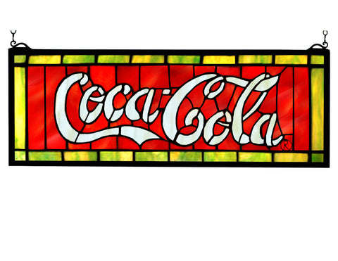 28 Inch W X 10 Inch H Coca-cola Stained Glass Window - Meyda - Dropship Direct Wholesale