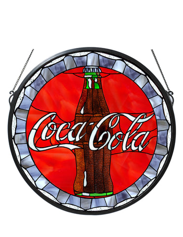 21 Inch W X 21 Inch H Coca-cola Bottle Cap Medallion Stained Glass Window - Meyda - Dropship Direct Wholesale