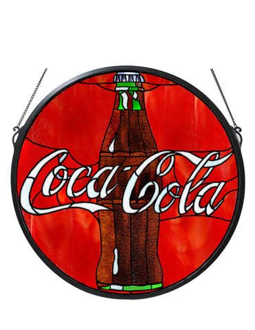 21 Inch W X 21 Inch H Coca-cola Button Medallion Stained Glass Window - Meyda - Dropship Direct Wholesale