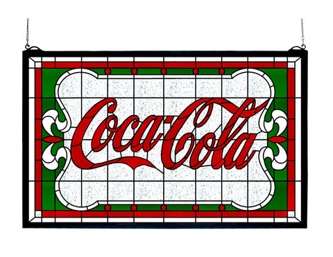 27 Inch W X 16 Inch H Coca-cola Nouveau Stained Glass Window - Meyda - Dropship Direct Wholesale