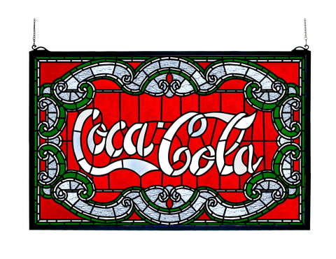 24 Inch W X 15 Inch H Coca-cola Victorian Stained Glass Window - Meyda - Dropship Direct Wholesale