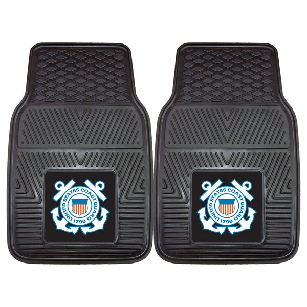 Coast Guard Licensed Heavy Duty 2-Piece Vinyl Car Mats 17x27 - FANMATS - Dropship Direct Wholesale