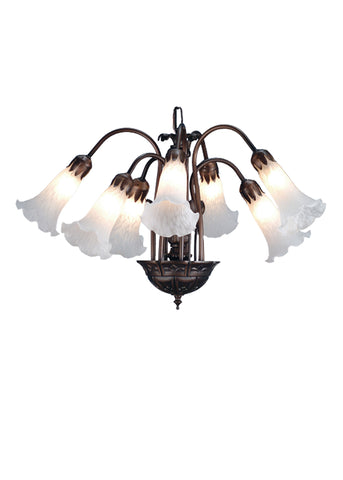 20 Inch W White Pond Lily 7 Lt Chandelier - Meyda - Dropship Direct Wholesale