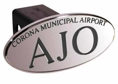 AJO Corna Municipal Airport - Black - Oval - 2 Inch Billet Hitch Cover - DefenderWorx - Dropship Direct Wholesale