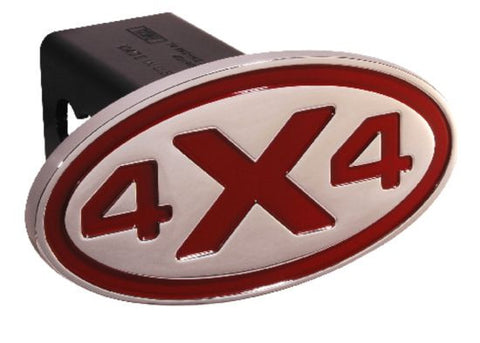 4 X 4 - Red - Oval - 2 Inch Billet Hitch Cover - DefenderWorx - Dropship Direct Wholesale