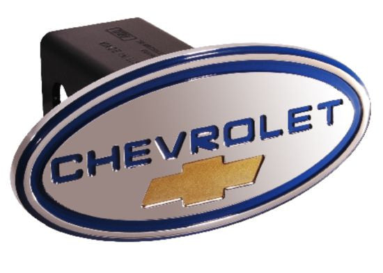 Chevy - Chevrolet - Blue w/ Gold Bowtie - Oval - 2 Inch Billet Hitch Cover - DefenderWorx - Dropship Direct Wholesale