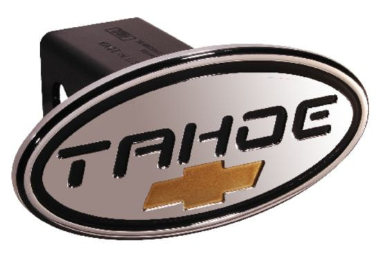 Chevy - Tahoe - Black w/ Gold Bowtie - Oval - 2 Inch Billet Hitch Cover - DefenderWorx - Dropship Direct Wholesale