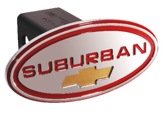 Chevy - Suburban - Red w/ Gold Bowtie - Oval - 2 Inch Billet Hitch Cover - DefenderWorx - Dropship Direct Wholesale