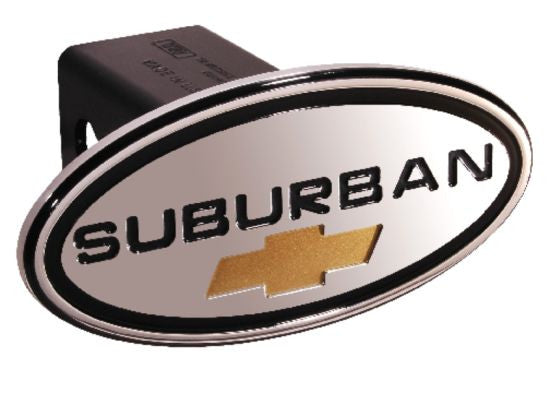 Chevy - Suburban - Black w/ Gold Bowtie - Oval - 2 Inch Billet Hitch Cover - DefenderWorx - Dropship Direct Wholesale