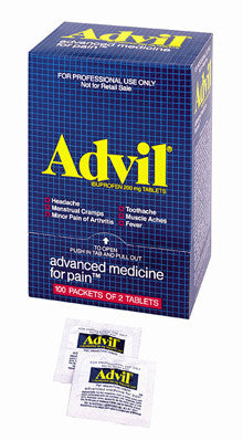 Advil® Advanced Medicine for Pain™- 50 2-packs- 100 tablets per dispenser box - First Aid Only - Dropship Direct Wholesale