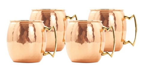 Set of 4 16 Oz Soild Copper Moscow Mule Mug Hammered - Old Dutch - Dropship Direct Wholesale
