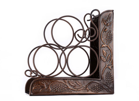 10.25 x 4.75 x 10.25 Antique Embossed Heritage 3 Bottle Wine Rack Bookend - Old Dutch - Dropship Direct Wholesale