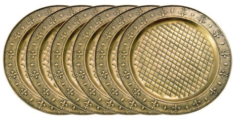 13 Inch Diameter Antique Brass Charger Plate - Set of 6 - Old Dutch - Dropship Direct Wholesale