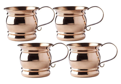 4 H Solid Copper Moscow Mule Mug with Flat Handle 16 oz - Set of 4 - Old Dutch - Dropship Direct Wholesale
