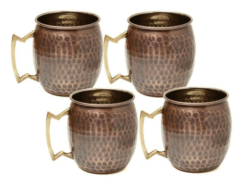 16 oz Antique Hammered Solid Copper Moscow Mule Mugs - Set of 4 - Old Dutch - Dropship Direct Wholesale