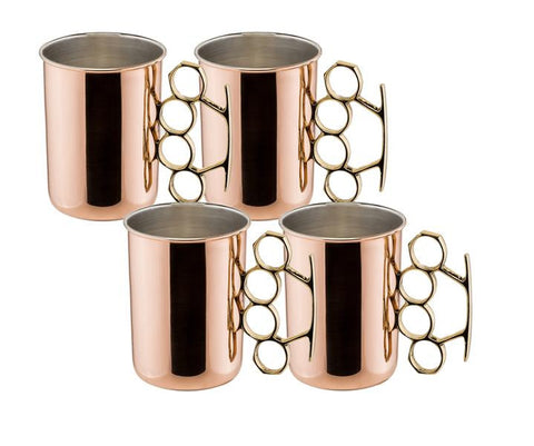 20 oz Brass Knuckle Moscow Mule Mug - Set of 4 - Old Dutch - Dropship Direct Wholesale