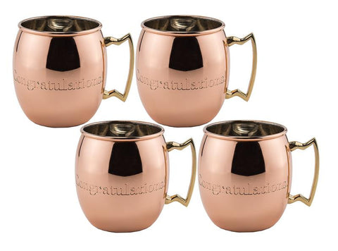 Congratulations 16oz Solid Copper Moscow Mule Mug - Set of 4 - Old Dutch - Dropship Direct Wholesale
