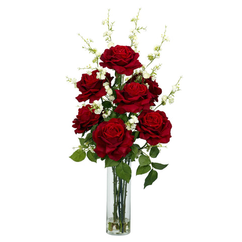 Roses w/Cherry Blossoms Silk Flower Arrangement - Nearly Natural - Dropship Direct Wholesale