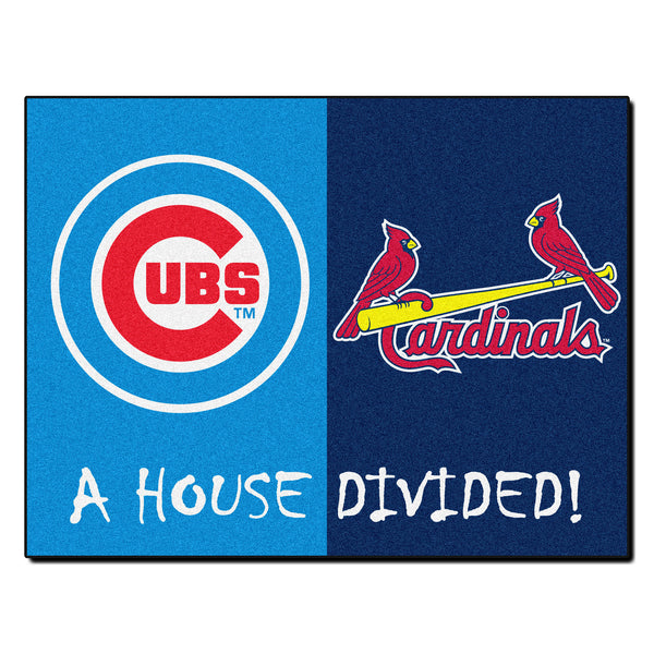 Chicago Cubs - St. Louis Cardinals MLB House Divided Rugs 33.75x42.5 - FANMATS - Dropship Direct Wholesale