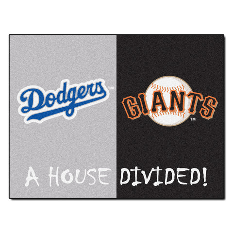 Los Angeles Dodgers - San Francisco Giants MLB House Divided Rugs 33.75x42.5 - FANMATS - Dropship Direct Wholesale