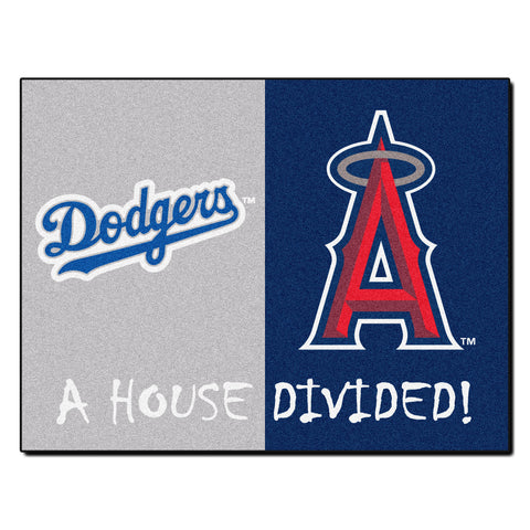 Los Angeles Dodgers - Anaheim Angels MLB House Divided Rugs 33.75x42.5 - FANMATS - Dropship Direct Wholesale