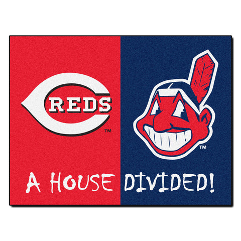Cincinnati Reds - Cleveland Indians MLB House Divided Rugs 33.75x42.5 - FANMATS - Dropship Direct Wholesale