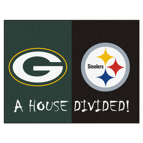 Green Bay Packers/Pittsburgh Steelers NFL House Divided Mat - FANMATS - Dropship Direct Wholesale
