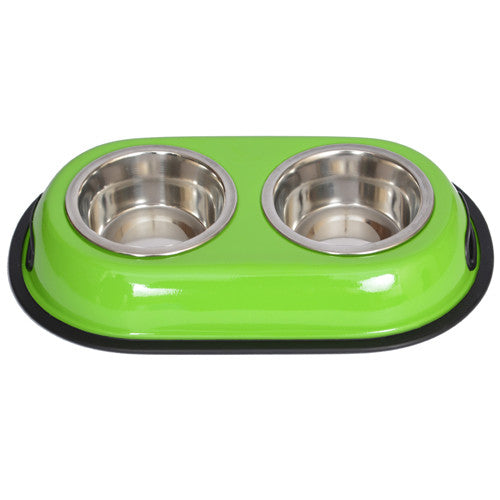 Iconic Pet Color Splash Stainless Steel Double Diner (Green) for Dog/Cat - 1 Qt - 32oz - 4 cup - Iconic Pet - Dropship Direct Wholesale
