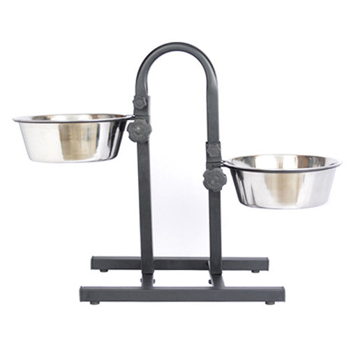 Iconic Pet Adjustable Stainless Steel Pet Double Diner for Dog (U Design) - 2 Qt - 64oz - 8 cup - Iconic Pet - Dropship Direct Wholesale
